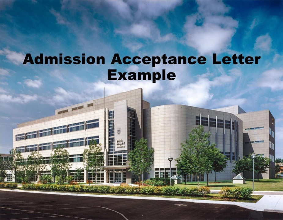 Admission Acceptance Letter Example